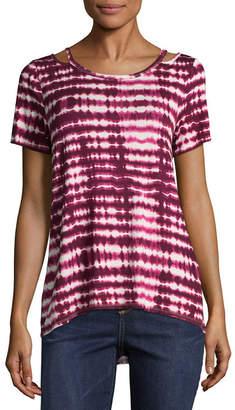 EYESHADOW GIRLS Eyeshadow Short Sleeve Split Crew Neck Tie Dye T-Shirt-Womens Juniors