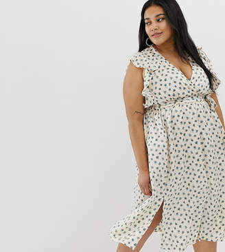 Glamorous Curve curve plunge front midi dress with ruffle shoulders in  smudge spot 94ea64286