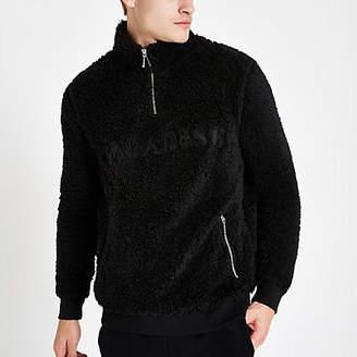 River Island Black fleece zip funnel neck sweater