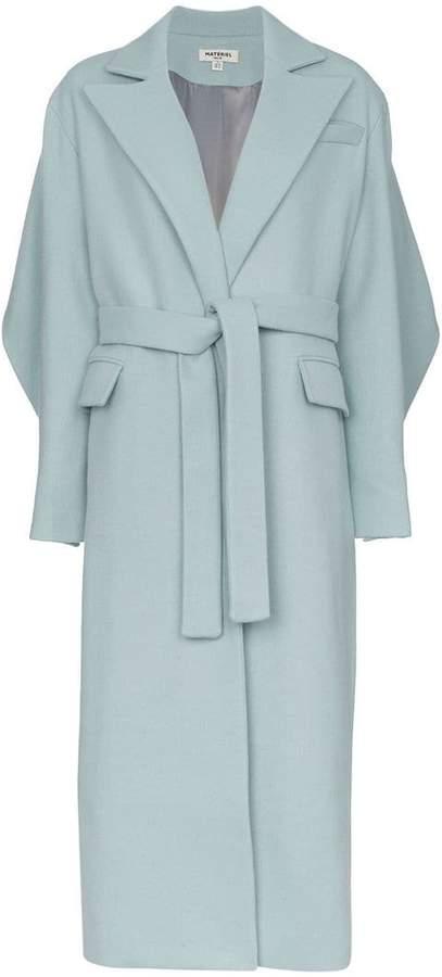 Materiel long belted coat