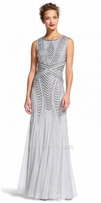 Adrianna Papell Chiffon Beaded Sequin Godet Evening Dress $349 thestylecure.com