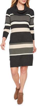 Studio 1 3/4 Sleeve Stripe Fit & Flare Dress-Petite