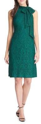 Vince Camuto Bow-Neck Lace Halter Sheath Dress