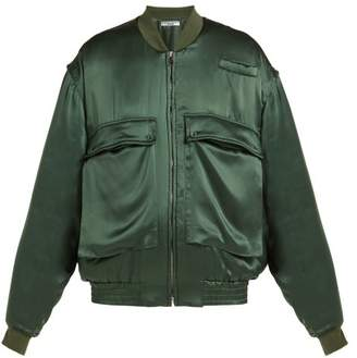 Katharine Hamnett Oversized Silk Satin Bomber Jacket - Womens - Green