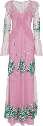 Blumarine V Neck Point D'Esprit Gown