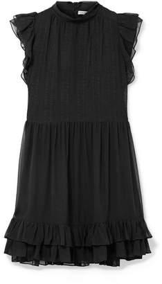 Ulla Johnson Remy Ruffled Embroidered Silk-chiffon Mini Dress - Black
