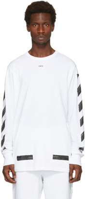 Off-White White Diagonal Brushed T-Shirt $305 thestylecure.com