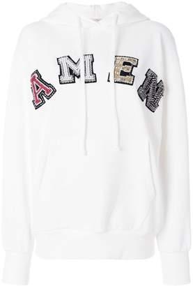 Amen embellished logo hoodie