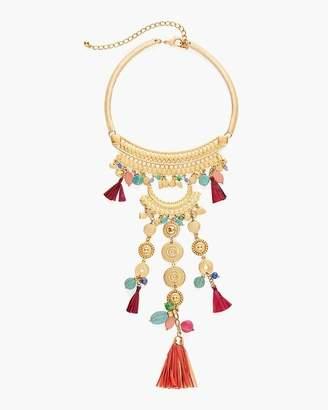 Pink Tassel Bib Necklace