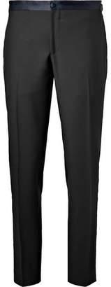 Thom Sweeney Midnight-Blue Slim-Fit Satin-Trimmed Wool Tuxedo Trousers