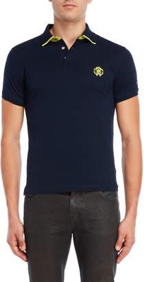 Roberto Cavalli Striped Collar Logo Polo