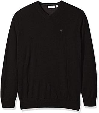 Calvin Klein Men's Big and Tall Merino Solid V-Neck Sweater