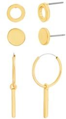Steve Madden Three Piece Hoop and Circle Earring Set