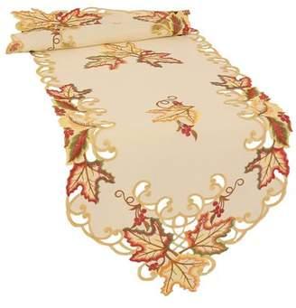 Xia Home Fashions Moisson Leaf Embroidered Cutwork Fall Table Runner