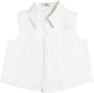 Milly Minis Stretch Cotton Poplin Crop Shirt
