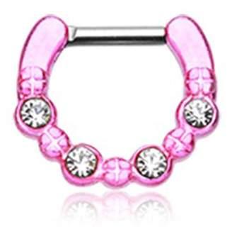 Elan International Inspiration Dezigns Pink Colorline Multi-Gem Septum Ring (16G)