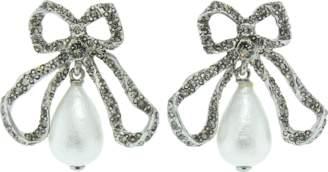 Oscar de la Renta Pierce Pearl Drop Bow Earrings