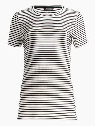 St. John Yarn Dyed Stripe Jersey Short Sleeve T-Shirt