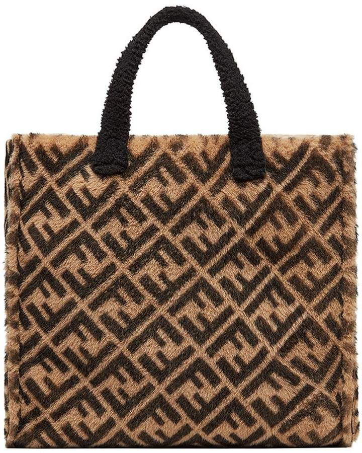 Fendi shearling logo tote bag