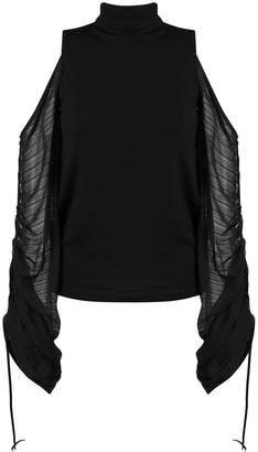 Plein Sud Jeans cold shoulders oversized sleeves top
