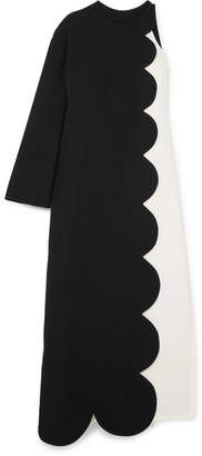 Valentino One-shoulder Two-tone Silk-crepe Maxi Dress - Black
