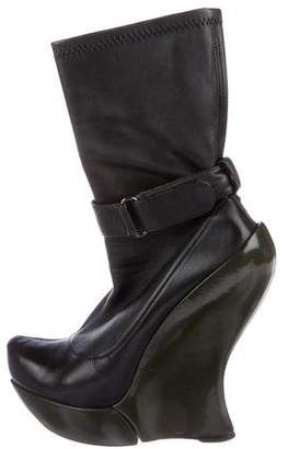 Celine Leather Wedge Mid-Calf Boots