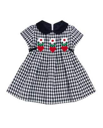 Florence Eiseman Twill Check Hearts & Flowers Dress, Size 2-4