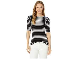 Lauren Ralph Lauren Stretch Cotton Boat Neck Top
