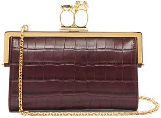 Alexander McQueen Crocodile-effect leather ring clutch