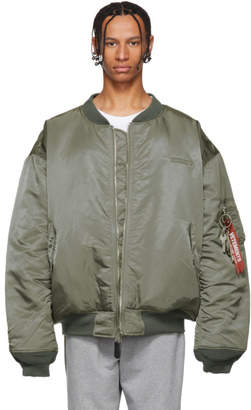 Vetements Reversible Green Alpha Industries Edition Oversized Angel Bomber Jacket