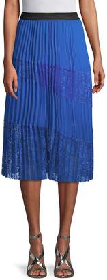 Maje Pleated Lace Panel Skirt