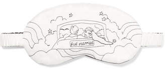 Morgan Lane - Just Married Embroidered Silk-charmeuse Eye Mask - White