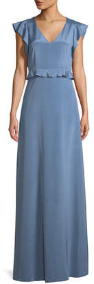 St. John Stretch Crepe de Chine Flutter-Sleeve Gown
