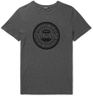 Balmain Flocked Melange Cotton-Jersey T-Shirt - Charcoal