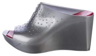 Cesare Paciotti Embellished Rubber Slide Sandals