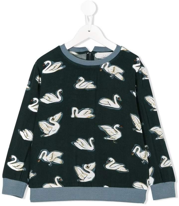 swan print sweatshirt