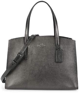 Coach Charlie Carryall 28 Gunmetal Leather Tote