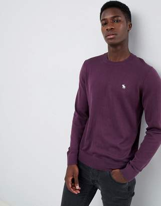 Abercrombie & Fitch core icon logo crew neck knit sweater in purple
