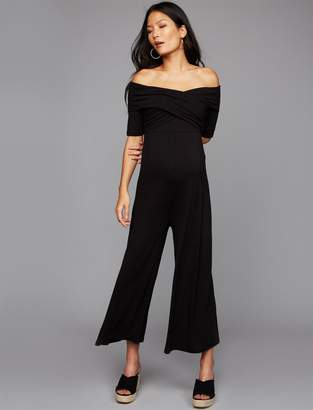 A Pea in the Pod Off The Shoulder Maternity Jumpsuit