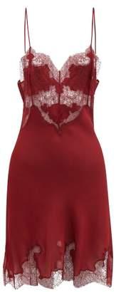 Carine Gilson Lace Trimmed Silk Satin Slip Dress - Womens - Red