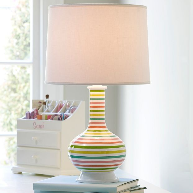 Painterly Stripe Lamp Base + Shade