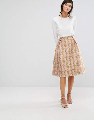 Oasis Floral Jacquard Midi Skater Skirt $95 thestylecure.com