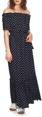 1 STATE 1.STATE Off the Shoulder Cinched Waist Maxi Dress