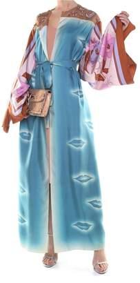 Dries Van Noten Ramidos Tr Emb Printed Silk-twill Kimono Trench Coat