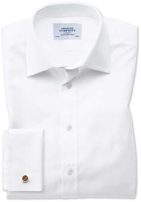 Charles Tyrwhitt Extra Slim Fit Oxford White Cotton Dress Shirt French Cuff Size 15.5/37