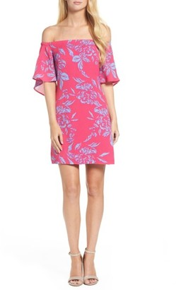 Women's Charles Henry Off The Shoulder Print Shift Dress $88 thestylecure.com