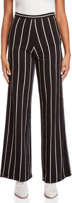 Alysi Striped High-Waisted Wide Leg Pants