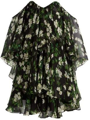 Caroline Constas Paros Floral Print Silk Crepe Dress - Womens - Black Green
