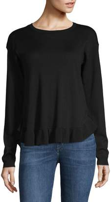 Lord & Taylor Ruffle-Trimmed Merino Wool Sweater