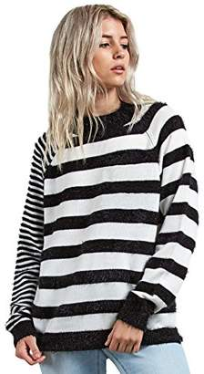 Volcom Junior's Need Space Wide Neck Crew Striped Sweater